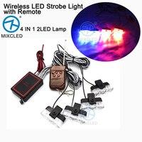 1Set 4 IN 1 2LED Wireless Remote DC 12V Led Warning Light Car Truck Light Flashing