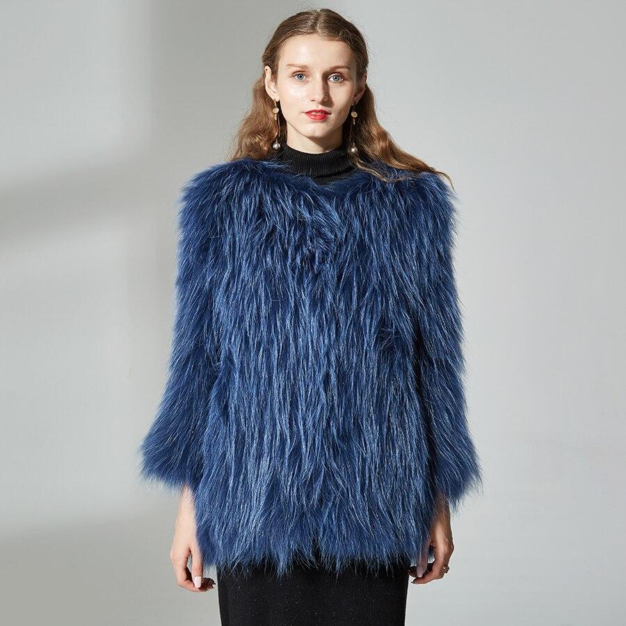 Naturale Reale della Pelliccia di Fox del Cappotto di medio-lungo di Lusso Morbido, Confortevole E raccon cane Pelliccia Lavorato A Maglia Cappotto di Pelliccia Reale del cane di raccoon giacca di pelliccia