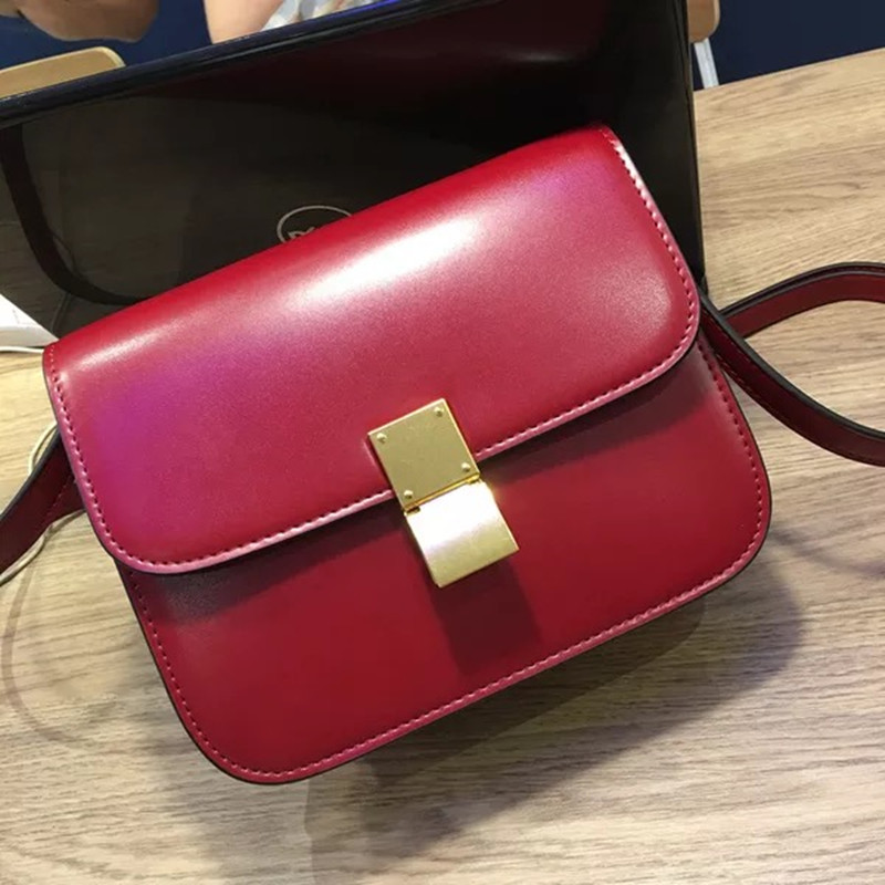 Genuine Leather women box shoulder bag Vintage messenger&crossbody bag Small square bag fashion retro lock lady handbag cuadrado new vintage genuine leather lady shoulder bag fashion portable elegant women handbag hot classic exquisite messenger bag c481