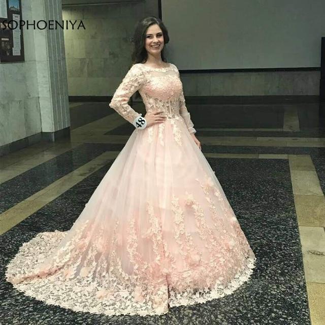 New Arrival różowe suknie wieczorowe z długim rękawem 2020 koronka z suknia balowa obszywana koralikami muzułmańska suknia Plus rozmiar vestido longo festa
