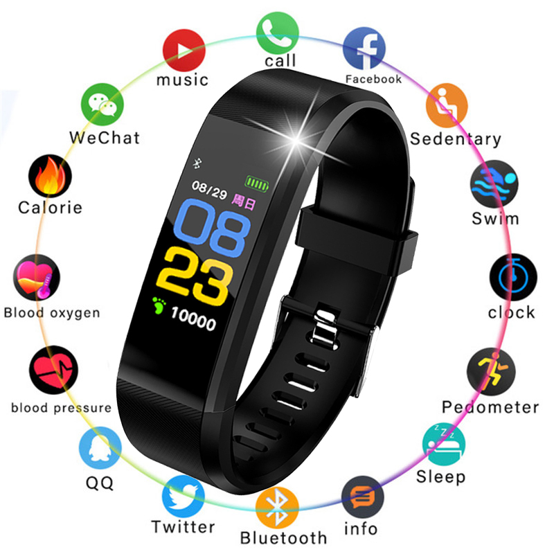 LIGE New Smart Sports Watch Men Women Wristband fitness Pedometer Sleep Heart Rate blood pressure Monitoring Smart Bracelet Box in Smart Wristbands from Consumer Electronics
