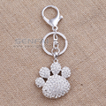 Aliexpress Brand Hot Sale Bear Footprint Rhinestone Crystal keychain,Promotion Discount Charms Key Ring Holder for the Keys