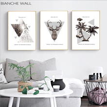 Palm Tree Deer Head Woods Landscape Fashion Abstract Art Poster Wall Canvas Painting Prints Nordic Style Decoration Pictures