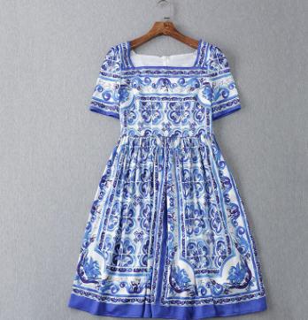 2018 Runway Fashion Women's Short Sleeve Vintage Blue White Porcelain Majolica Printed Holiday Dress Square Collar Dress JC2255