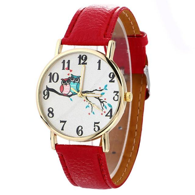 Girl Cute Watches Student Lovely Bracelet Watches Owl Pattern Quartz Wrist Watch