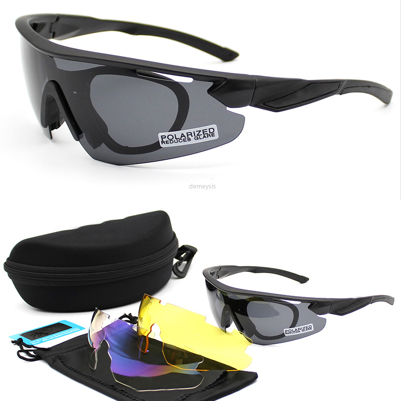 Polarized Army Goggles 3 Lens Kit Men's Military Sunglasses Airsoft War Game Tactical Hiking Glasses