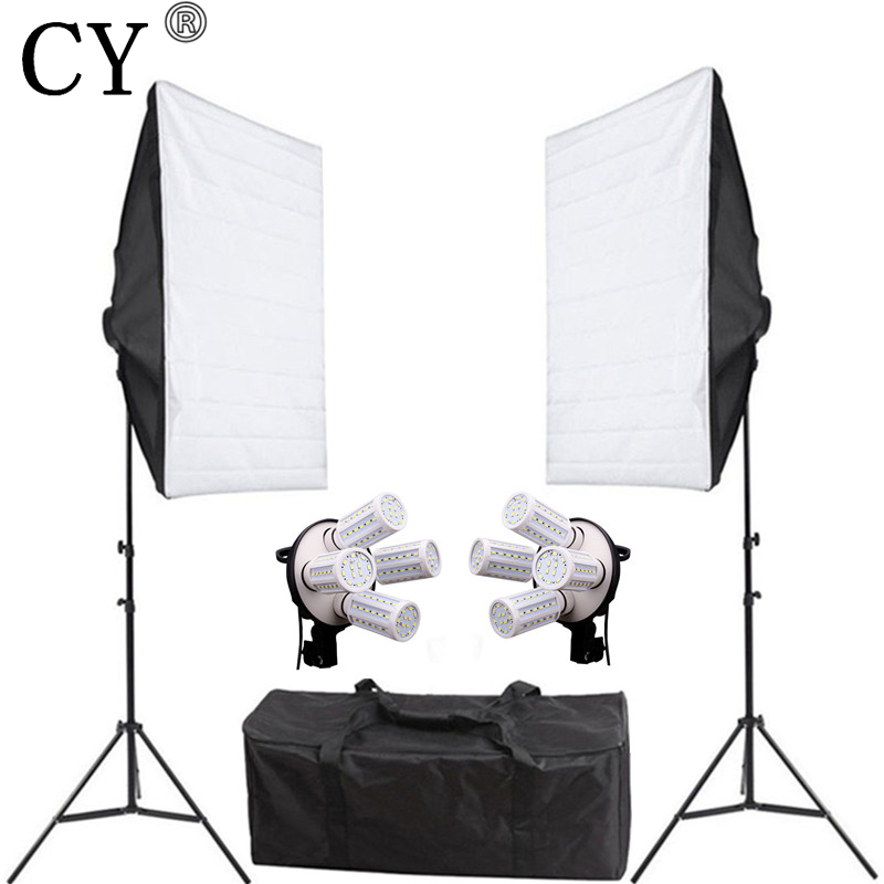 CY 160ws LED Constant Current Bulbs Photography Lightbox Kits Softbox*2+Stand*2+Lamp Holder*2 Photo Studio Continuous Lighting