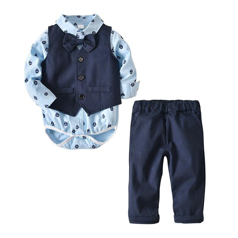 baby boy clothes cheap fashion romer vest pants bow tie 4 pieces pack autumn blue black 6 12 18 24 months infant drop shipping
