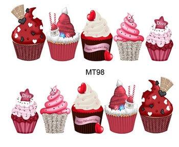 1 hoja de uñas MT98 pastel rojo Navidad torta funda completa de uña arte calcomanía de transferencia de agua Calcomanía para uñas tatuaje consejos herramientas de uñas