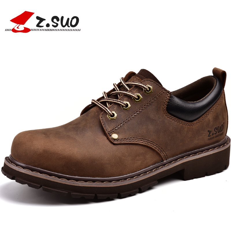 Z. Suo men 's shoes, leather casual shoes, spring and summer man pure retro leather mad cow shoes. ZS18507 z suo men s shoes pure color denim casual shoes men s wear in spring and summer of canvas shoes with flat sole zs16106