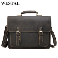 J M D Crazy Horse Genuine Leather Man Bag Vintage Men Bags Business Men S Briefcase