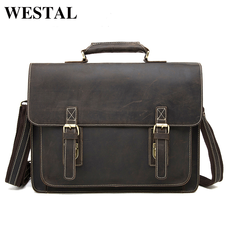 WESTAL business men's leather briefcase handbag Totes vintage laptop bag crazy horse genuine leather men bag male shoulder bags mva business men s leather briefcase handbag totes vintage laptop bag crazy horse genuine leather men bag male shoulder bags
