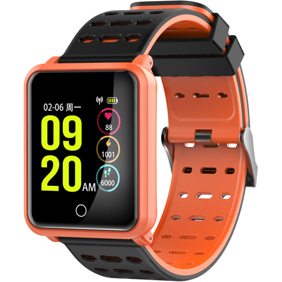 Fashion Orange/Black/White Color Sport Smart Watch Men Silicone Band Waterproof Watches Call Reminder Calorie Smart Brecelet