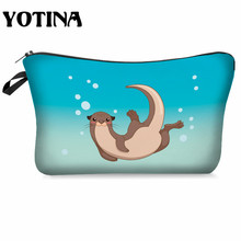 Yotina Makeup bag Women Cosmetic Bag With Multicolor Pattern Otter 3D Printing  Cosmetics Pouchs For Travel makeup organizer