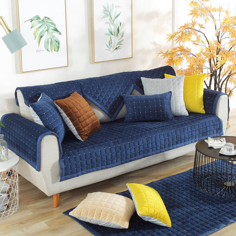 Modern plush thick corner sofa cover winter anti slip ...