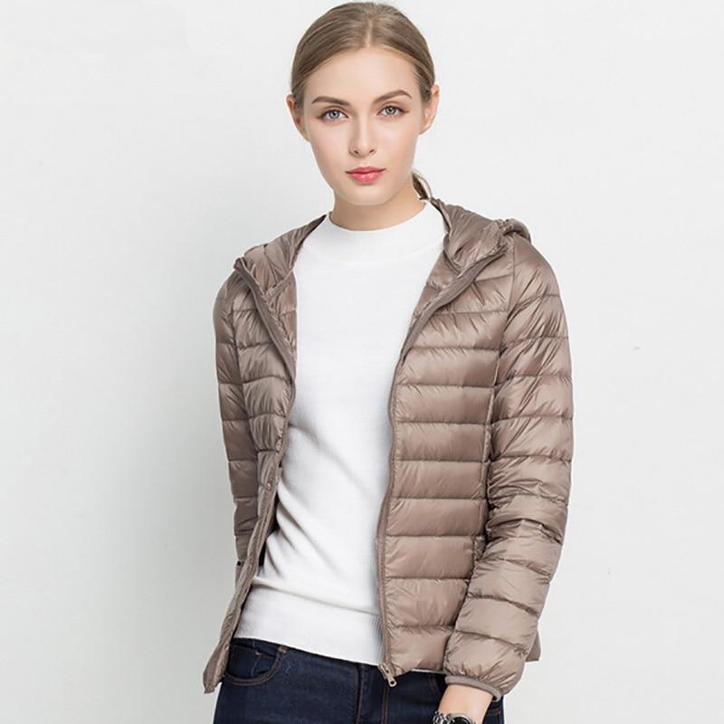 2018 Hooded 90% White Duck Jacket Down Autumn Winter 14 Colors New Warm Slim Plus Size Women Fashion Light Down Coat Brand S-3XL 1