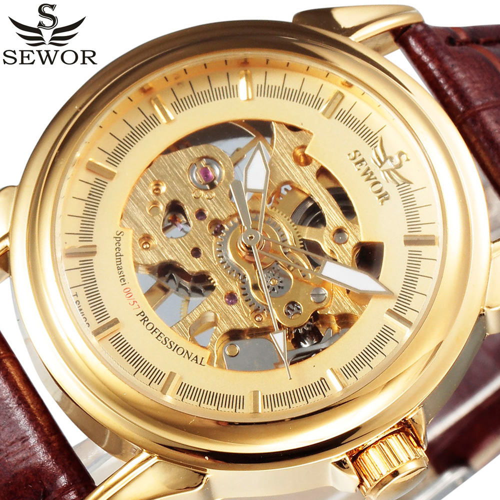 Royal Carving Skeleton Mechanical Watches Gold Brown Leather Men Wrist Watch Clock