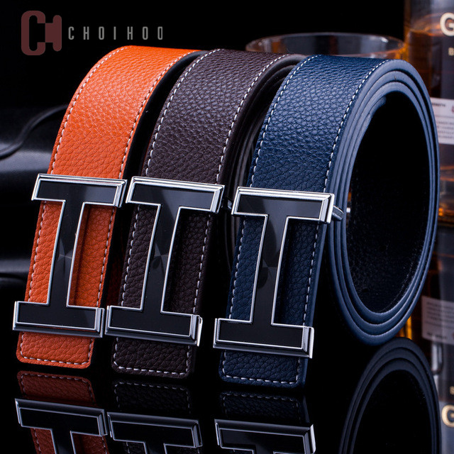 hottset width 3.4cm Men   Belt   2018 Genuine Leather   Belts   For Men Fashion Smooth Buckle With Letter H women   Belts