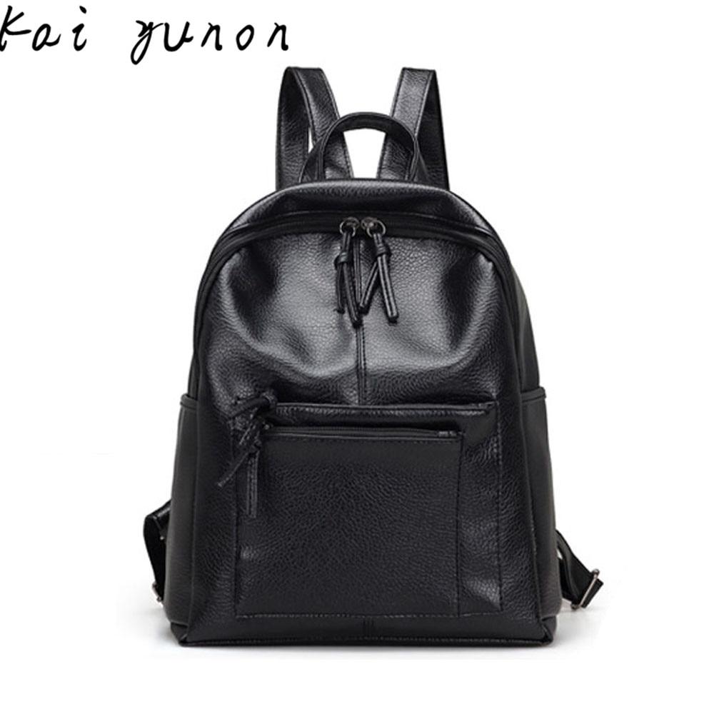 Black Leather School Travel Rucksack Bags Satchel Shoulder Women Backpack Dec 21