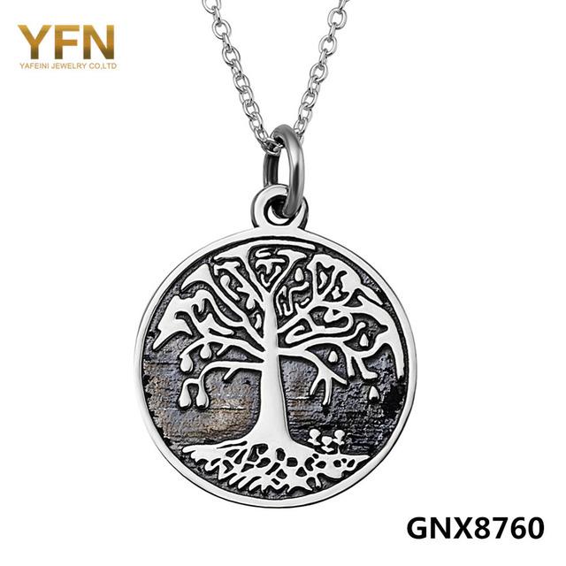 Gnx8760 a árvore da vida Antique colar de prata 925 pingente de prata rodada colar lados dobro jóias Vintage