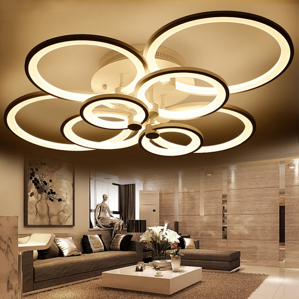 Blue time acrylic modern led ceiling lights for living for Living room overhead lighting