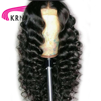 KRN Deep Wave Lace Front Human Hair Wigs With Baby Hair Remy 13X3 Part Pre Plucked Brazilian Lace Front Wigs Bleached Knots