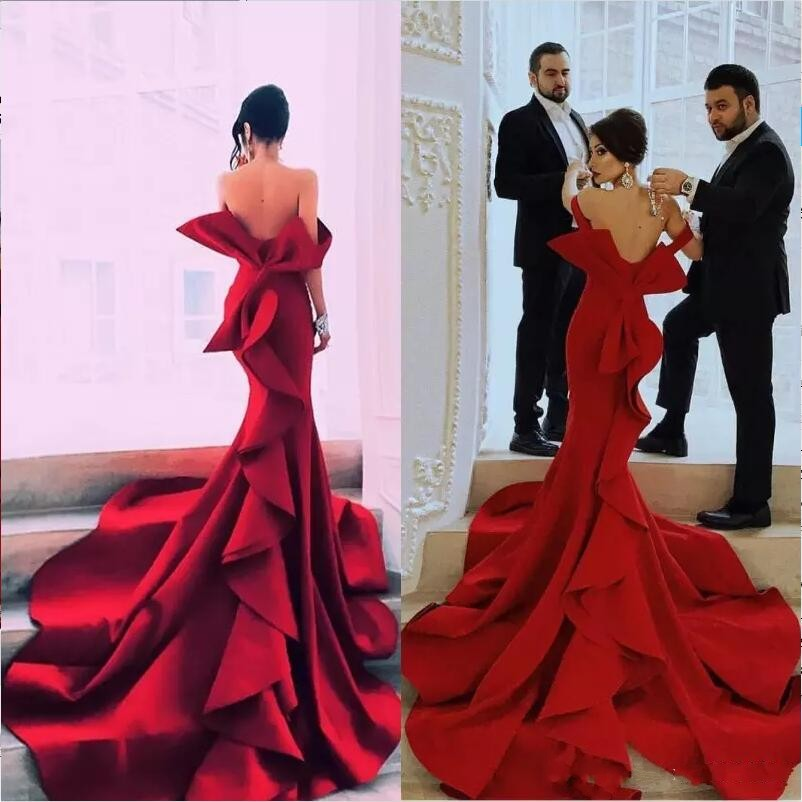 Elegant Sweetheart Floor Length   Evening     Dresses   Backless robe de soiree Off Shoulder   Evening     Dress   Red Bow Tiered vestidos