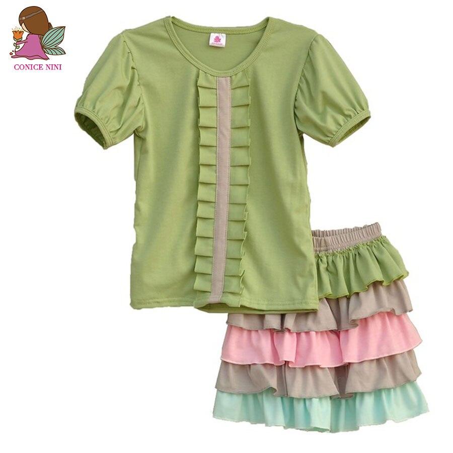 웃 유Brand Kids Clothes Girls Solid Color O-Neck Short Sleeve ...