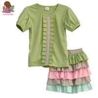 Brand Kids Clothes Girls Solid Color O-Neck Short Sleeve Blouse+ Multicolor Cake Skirt Cotton Children Sets S010