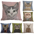 Vintage Animal Cute Cat Cotton Pillow Cover Cool Cat Designed Pillowcase Pillow Case Free Shipping