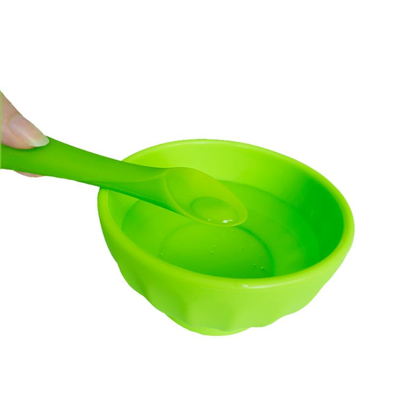 1PC Infant Rice Paste Training Soft-Tip Spoon Bamboo Leaf Tooth Gel Spoon Teether For Baby Led Weaning Tailored Silicone Spoon