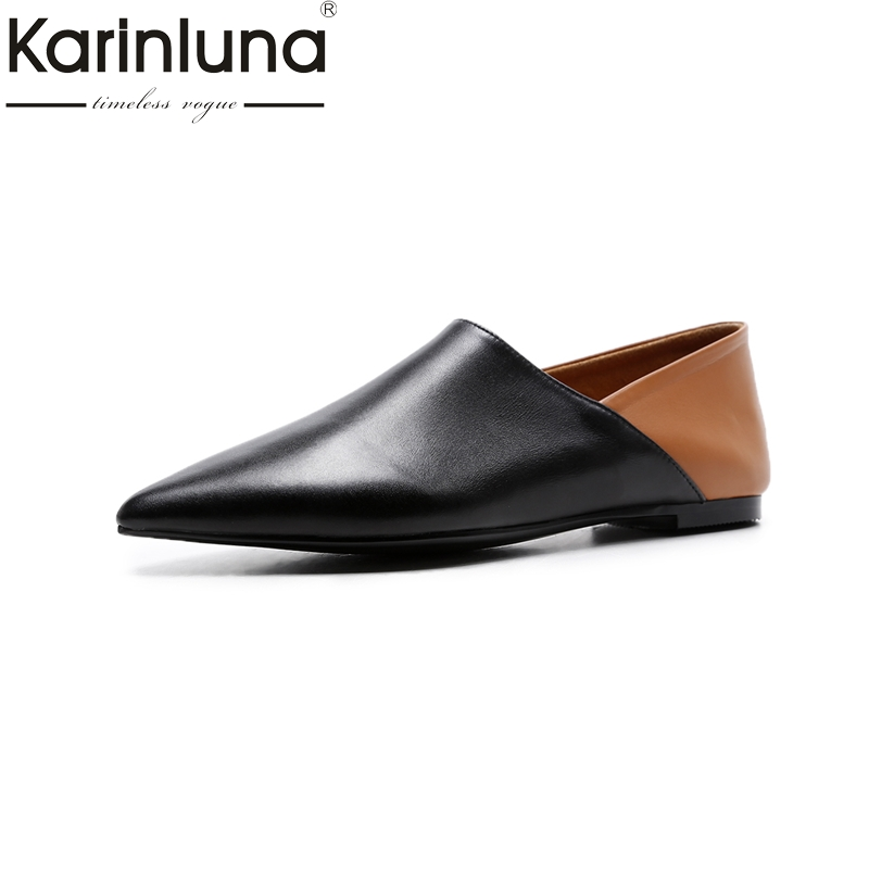 KARINLUNA size 33-40 Fashion pointed toe Cow Leather black Women Shoes Woman Leisure Slip On Breathable Flats genuine leather pu pointed toe flats with eyelet strap