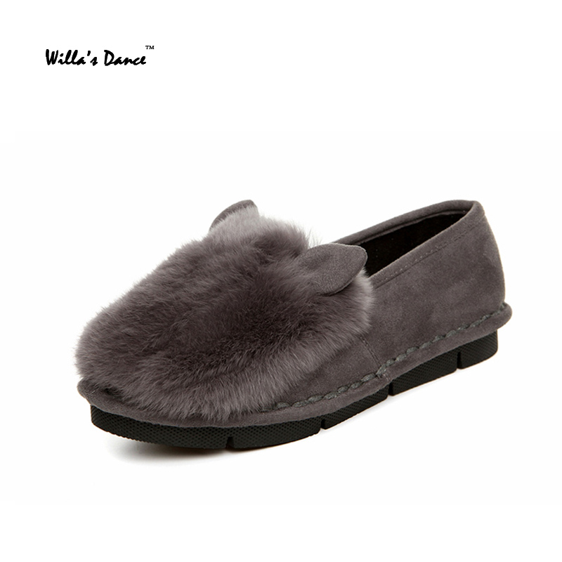 Willa s Dance Rabbit Fur Shoes font b Woman b font Brand Genuine Leather Loafers High