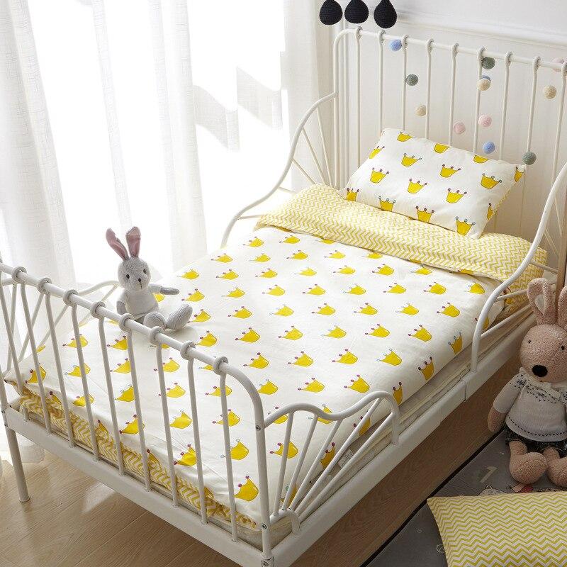 100% QualitäT Baby Bettwäsche Set, Baumwolle Cartoon 3 Teile/satz Quilt Abdeckung Bettdecke Kissen Weniger Teuer
