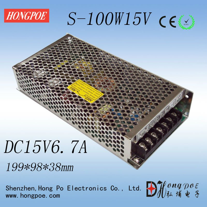 1PCS 100W 15V 6.7A Switching power supply input 100-240VAC for industrial control AC to DC power suply 15V 100w power supply S low price high power ac dc converter drp 480 15 480w 32a 15v switching power suply for industrial