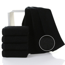 Black Cotton Terry Towels Dry Hair Beauty Salons Barber Shop Special Towel Super Absorbent Products 75*35cm Bathroom