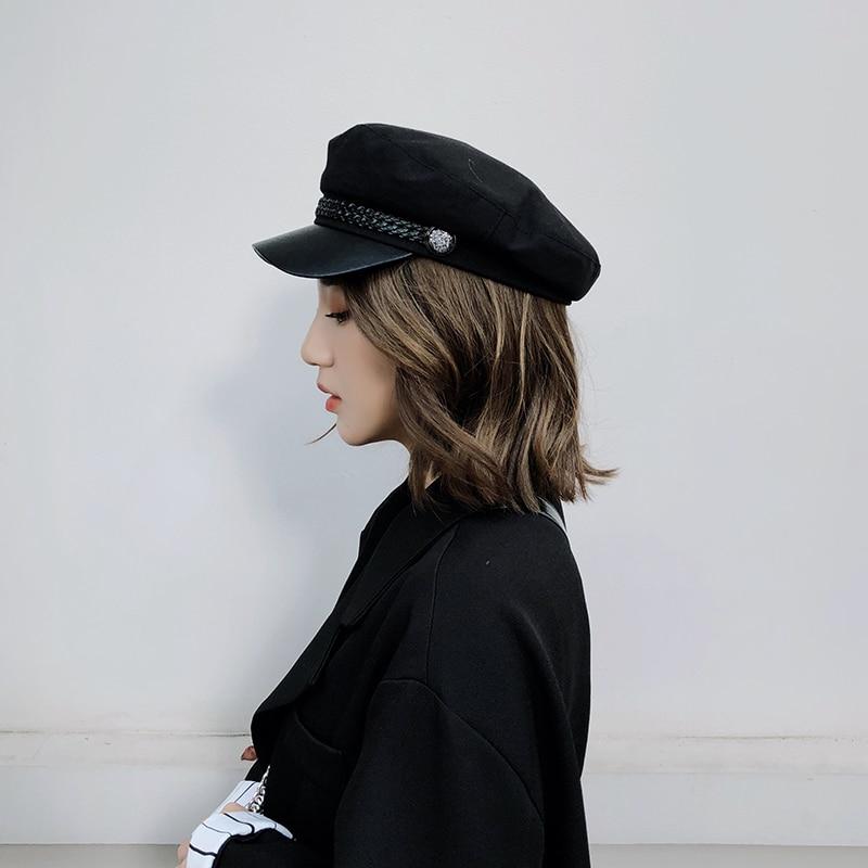 Fashion-PU-Leather-Military-Hat-spring-Sailor-Hat-For-Women-Men-Black-Grey-flat-top-Girls