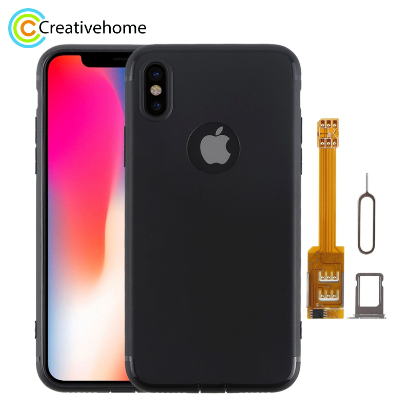 Brand New 2 In 1 Dual SIM Card Adapter + TPU Case With SIM Card Tray / SIM Card Pin For IPhone X, Dual Card Single Standby