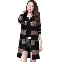 Spring Autumn 2017 New Fashion Big Size Loose Korean Version Sweater Cardigans Feminino Double Breasted Pockets