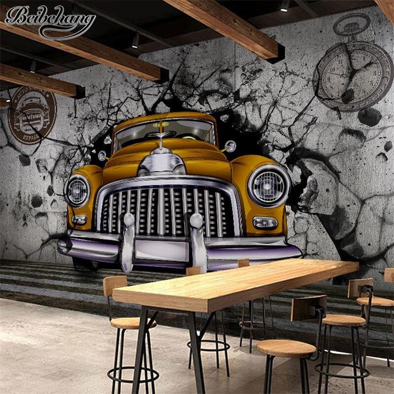 beibehang custom 3d european retro retro nostalgia car wall background wallpaper for walls 3 d papel