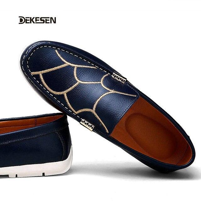 Dekesen zapatos mocasines Planos de la manera respirable ocasional Unisex de los hombres de cuero Genuino Hombres zapatos de conducción mocasines de alta calidad 628
