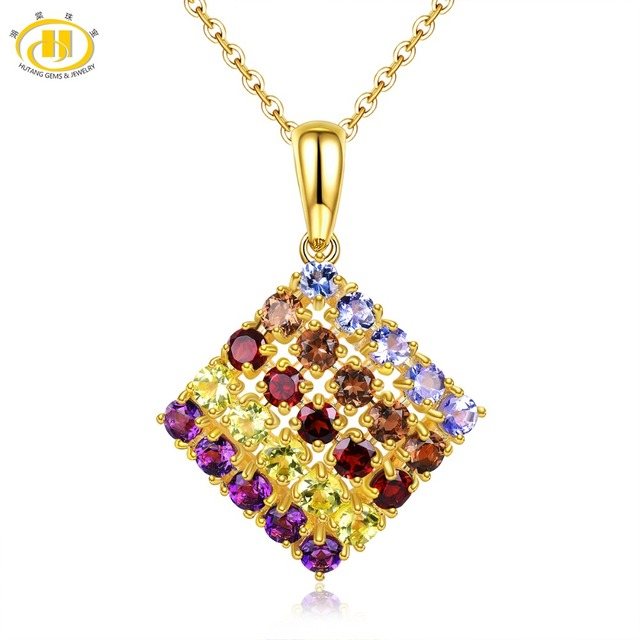 Hutang Multi Gemstone Pendant Natural Tanzanite Quartz Garnet Peridot Amethyst Yellow Gold 925 Sterling Silver Necklace Jewelry