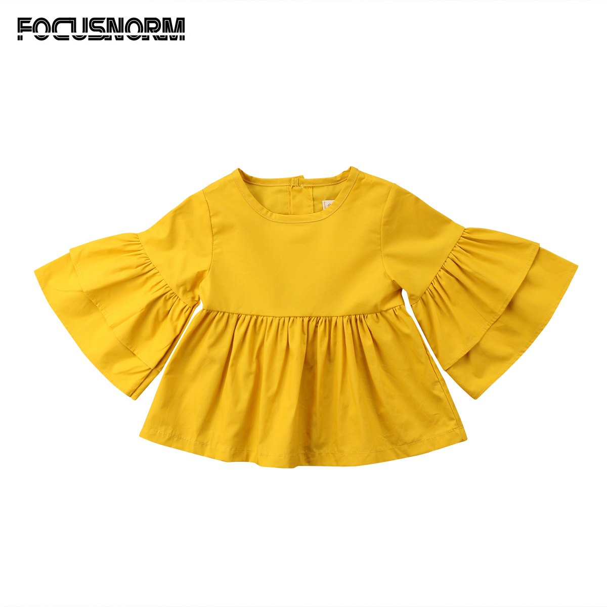 Kids Baby Girls Toddler Butterfly Sleeves Casual Tops Long Sleeves   Blouse     Shirt   Ruffle Solid Tops