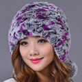 Rex Rabbit Fur Hair Hat Headgear Bonnet Korean Sweet Girl Thick Warm Winter Hat Female Genuine Women Rex Rabbit Fur Beanies Caps