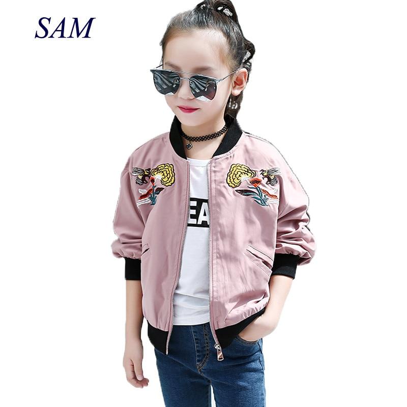 Новинка весны 2019, модные куртки для больших девочек, детские короткие пальто с вышивкой в уличном стиле, персонализированная бейсбольная одежда|Куртки и пальто|   | АлиЭкспресс
