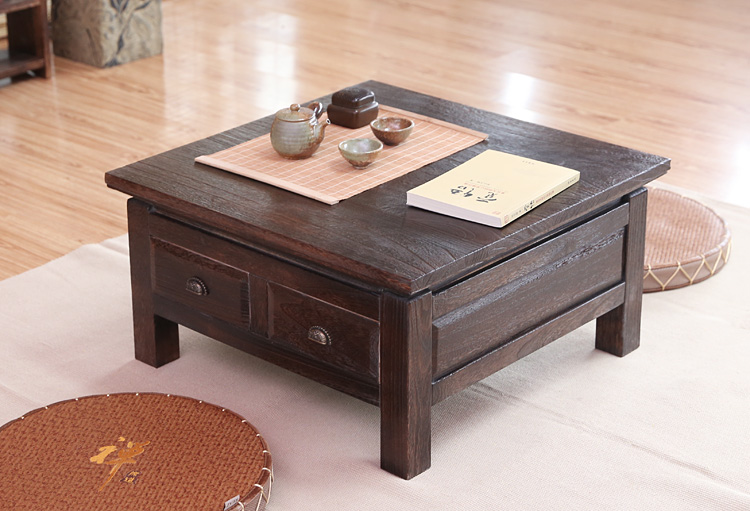 Japanese Antique Tea Table Wooden Cabinet With Two Drawer Square 65cm Paulownia Wood Traditional Asian Living Room Furniture
