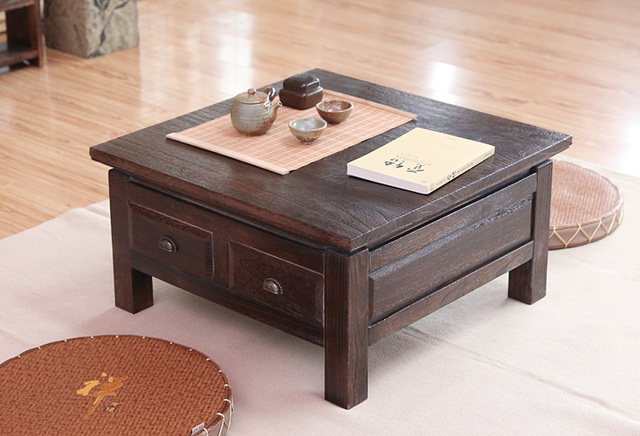 Anese Antique Tea Table Wooden Cabinet With Two Drawer Square 65cm Paulownia Wood Traditional Asian Living Room Furniture