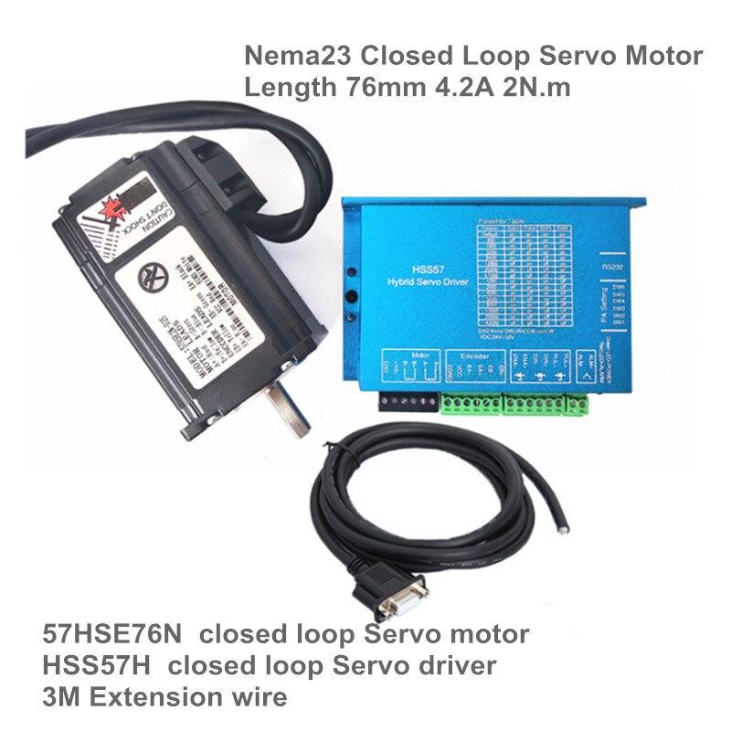 2N.m Nema23 76mm Closed Loop Servo Motor 3A & Hybrid Step-servo Driver Controller 6A original servo controller sgdb 20an