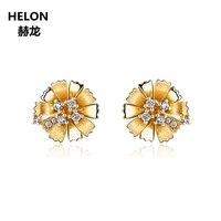 Натуральный шпилька с алмазами СЕРЬГИ Solid 14 К желтого золота Для женщин серьги цветок Fine Jewelry