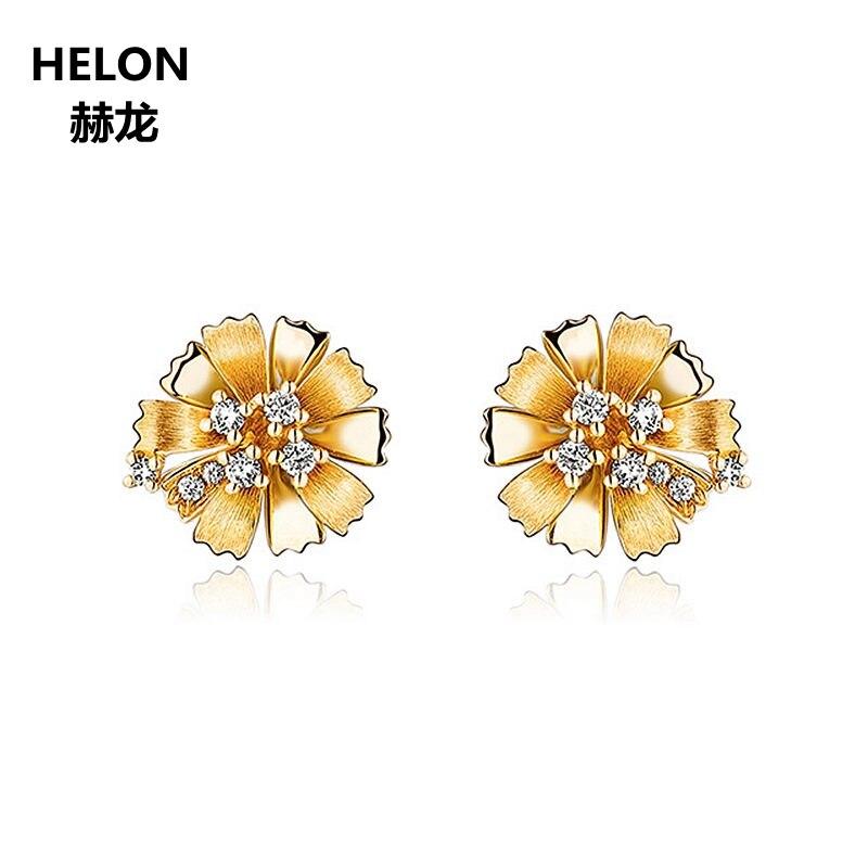 Diamantes naturais Brincos Sólido 14 k Ouro Amarelo Mulheres Brincos Flor Jóias Finas